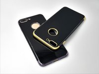 Wholesale Iphone7 plating three stage mobile phone shell simple bright black back cover solid TPU mobile phone protection sleeve LY