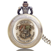 antique school clocks - Hot Fashion Antique Harry Potter Hogwarts School Crest Badge Song Image Bronze Pocket Watch High Quality Quartz Clock