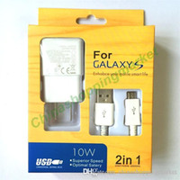 Carga rápida Top 2 en 1 EU US Plug Adaptable Wall Charger Kits Cable de sincronización de datos USB 2.0 para Samsung Galaxy S4 S5 S6 Nota S7 Nota Android # 7