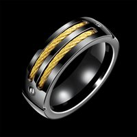 Wholesale BIACK GOLD Color Stainless Steel Men s Fashion Man Ring Cool Man s High Polished Man s Wedding Ring BR R006