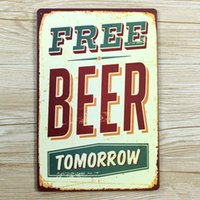 Wholesale HOT SALES quot FREE BEER TOMORROW quot Tin plate signs movie poster Art Cafe Bar Vintage Metal Painting wall stickers home decor X30CM