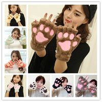 Wholesale Newest Fluffy Bear Cat Plush Paw Claw Glove Novelty Halloween soft toweling lady s half covered gloves mittens JF