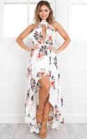 Wholesale Fashion summer halter irregular dress women sexy boho floral print bohemian maxi dress beach backless dress Strappy vestidos de festa