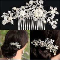 Wholesale Elegant Silver Wedding Bridal Hair Comb Pearl Crystal Flower Hair Clip Side Comb Pin Bridal Head piece Wedding Hair Jewelry Accessories