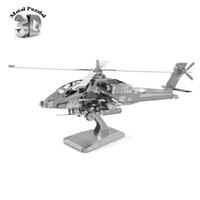 apache children - D Metal Puzzles Miniature Model DIY Jigsaws model airplane Gift Fancy Toy for Children AH64 Apache Fighter