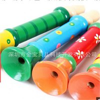 Wholesale 3pcs Children s educational toys colorful wooden small whistle playing musical instrument infant toy wooden horn baby musical toys