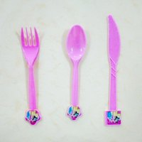 Wholesale six princess Theme Party Plastic Knives Forks Spoons Birthday Christmas Festival Party Decoration Supplies05 pc free gift