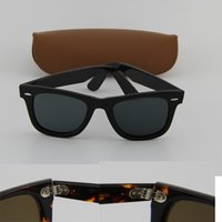 Wholesale Hot sale top quality women sunglasses men brand designer UV protection black frame black mm len with brown case