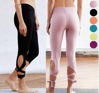 ballet pants - Solid Color Yoga Pants Ballet Dance Training Pant Quick Dry Closing Legs Straps Seven points Dance Pants YBL
