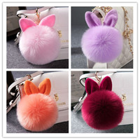 Wholesale Mixed colors lovely Genuine Leather Rabbit fur ball plush key chain for car key ring Bag Pendant car keychain JF