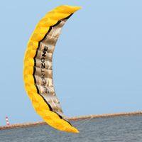 Wholesale NEW High Quality m Yellow Dual Line Parafoil Kite WithFlying Tools Power Braid Sailing Kitesurf Rainbow Sports Beach