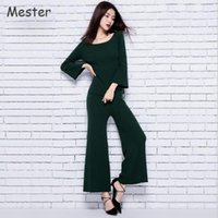 Wholesale Women Piece Pants Sets Elegant Three Quarter Flare Sleeve Silk Cashmere Knitted Tops and Elastic Waist Wide Leg Pants Suit