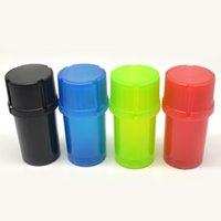 al por mayor frascos de especias de plástico-35MM 3 piezas molino de especias molino de hierbas plásticas puede almacenamiento de tabaco caso molino de botella trituradora de fumar accesorio plástico tarro