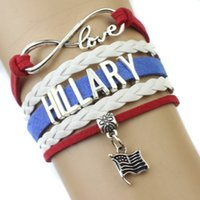 american racing steel - Pieces Infinity Love US Presidential Race Vote for Democratic Party Hillary Clinton Leather Wrap Cuff Bracelet