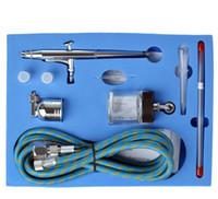 Wholesale Mini Dual Action Airbrush Comperssor Kit mm Needle Air Brush Spray Gun For Makeup Model Nail Body Paint Art