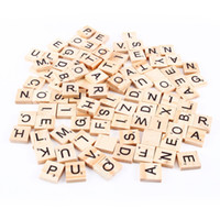 Wholesale 100pcs set Wooden Alphabet Scrabble Tiles Black Letters Numbers For Crafts Wood Children Kids Learning Toys