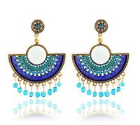 Wholesale hot sell Bohemian fan shape earrings tassel flower earrings for women