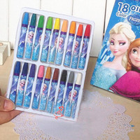 Painting Pens Notes Wood Frozen Gel 18 Color Oil painting Stick Children Painting Pens Student Crayons Color Painting Kids Birthday Present