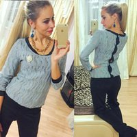 backless flats - New spring and autumn back open button sexy backless hollow pullover knitted sweaters women sweater pull femme sweter mujer