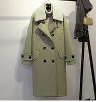 Wholesale 2016 new double breasted coat in a long woolen lamb wool lapel woolen coat jacket Fashion warm wool coat