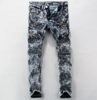 acid blend - 2017 Fashion Streetwear Multi Zipper Men Slim Jeans Skinny Designer Snowflake Men Biker Zip Jeans