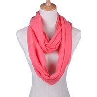 Cheap Wholesale-20 Colors Fashion Solid Color Scarves Light weight Circle Loop Women Infinity Scarf Plain Snood For Ladies Shawl Cheap Scarfs
