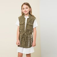 Wholesale England Girls Lace Floral Vest Cute Lace Up Coats Kids Hollow Out Lace Vest Outerwear For Year Babys
