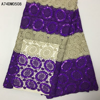 Wholesale and retail Hot sale nigerian guipure cord swiss voile lace water soluble print african sequins lace fabrics for dress yards