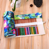 abstract brush - Holes Modern Abstract Painting Canvas Roll Up Pencil Case Handmade Painting Pen Bag Brush Storage Holder School Supply