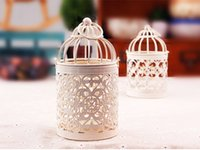 Wholesale 1PC Types Metal White Holder Tealight Candlestick Hollow Hanging Lantern Bird Cage Vintage Wrought Candle Holders