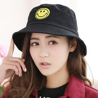 Wholesale Women Vintage Casual Spring Summer Shade Embroidery Yellow Smile Basin Fisherman Flat Top Hat