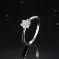 Wholesale STARHARVEST Sterling Silver Flower Shaped Silver CZ Engagement Ring