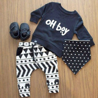 Wholesale 2016 New Autumn baby boy clothes set cotton Fashion letters printed T shirt pants Infant clothes newborn baby clothing set