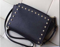 Totes Women Plain Free shipping 2017 star models with cross pattern PU leather handbags and small rivet smiley bat bag shoulder bag Messenger bag