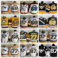 achat en gros de joe jaune-Remplir Pittsburgh Penguins 68 Jaromir Jagr 77 Paul Coffey 7 Joe Mullen 8 Mark Recchi noir blanc jaune NHL Ice Hockey chandails