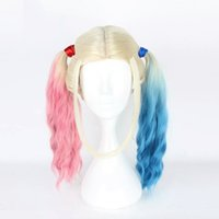 Wholesale Suicide Squad Harley Quinn Christmas New Fashion Style Party Club Cosplay Wig Rainbow Long Curly Hair Wigs