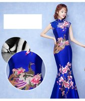 Wholesale Evening dress new Chinese style banquet long tail embroidery qipao dress in the summer of cultivate one s morality elegant female autum