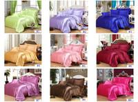 Wholesale C102 Bedding Set Fashion Silk Bed Set Solid Soft Bed Sheet Colors Free Choose Free DHL FEDEX UPS Shippment
