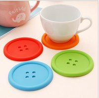 Wholesale Cute Colorful Silicone Button Cup Cushion Placemat Holder Drink Tableware Coaster Mat Pads for Home Decor Christmas Decoration