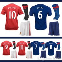 Wholesale Adult suit Manchester soccer Jerseys with United football shirts socks POGBA jerseys IBRAHIMOVIC ROONEY MEMPHIS