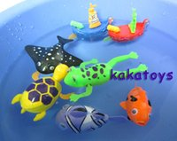 Wholesale On the chain of baby toys swimming bath toy clockwork clown fish Turtle pirate frog