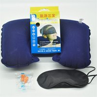Wholesale Camping Equipment Set Air Pillow Eye Mask Ear Block Blow Up U Shape Pillow Easy to Carry Sleeping Air Bags Camp Accessories