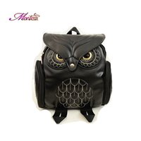 Wholesale Owl Animal Prints School Bags for Girls Embroidery Zipper PU Leather Interior Zipper Pocket Cartoon Backpacks