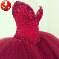 Wholesale Plus Size Tulle Ball Gown Wedding Dresses Red Sweetheart Pearls Beaded Wedding Bridal Gowns Bride Dress Cheap Vestidos de noiva