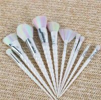 Wholesale 10pcs set Unicorn Thread Makeup Brushes Professional Make Up Fiber Brush Set Makeup Tools Eyebrow Eyeliner Powder Cosmetics rainbow Brushes