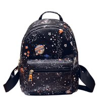 Wholesale 2017 New Fashion Star Universe Printing Women s Small Leather Backpack for Girls Kids Ladies Mini Backpacks Cute Lightweight Bag