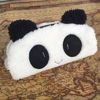 Wholesale New Cute Cartoon Kawaii Panda Plush Pencil Case Lovely Pen bags Stationery School Supplies for Kids Gift
