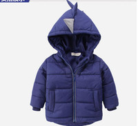 Wholesale Boy cartoon dinosaur cotton padded jacket baby winter fashion coat years hooded children warm cotton padded jacket AB