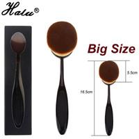 halu -25 big beauty box - Big Size Powder Makeup Brush Beauty Oval Cream Puff Cosmetic Toothbrush shaped Foundation Brush Blend Tools Pincel For Maquiagem Box Packing