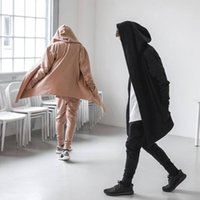 big mens sweatshirts - High Fashion Streetwear Mens Oversized Cardigan Jacket Black And Sand Color Longline Big Hood Sweatshirts Kanye West Coat